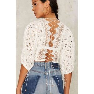 BNWOT Nasty Gal Eyelet It Be Crop